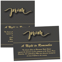 4x6 Full-color Custom Invitations - Gold Dots Prom