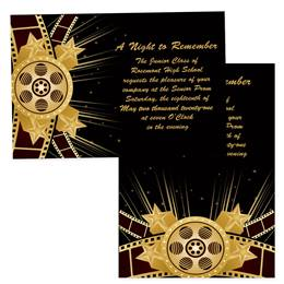 4x6 Full-color Custom Invitations - Hollywood Gold