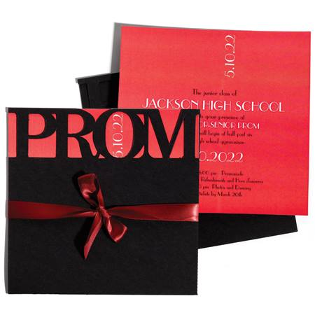 Die-Cut Prom Invitation With Red Insert
