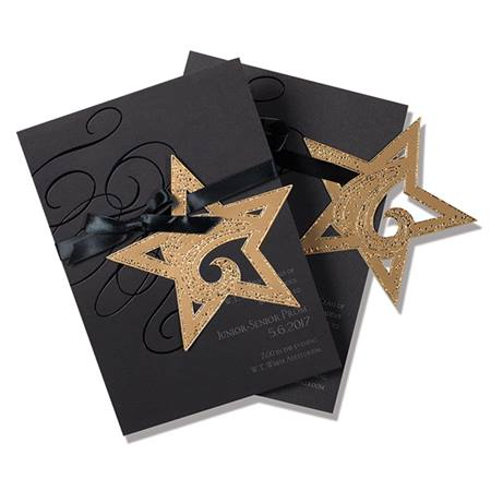 Gold Hanging Star Invitation