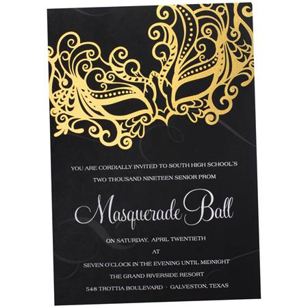 Golden Masquerade Invitation | Prom Nite