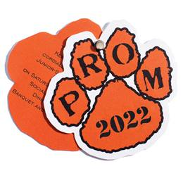 Paw Flip Open Prom Invitation - Black/Orange