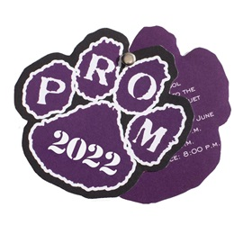 Paw Flip Open Prom Invitation - Purple/White