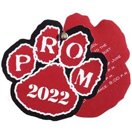 Paw Flip Open Prom Invitation - Red/Black/White