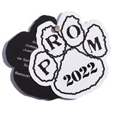 Paw Flip Open Prom Invitation - White/Black