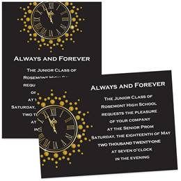 Gold Clock 4 x 6 Invitations