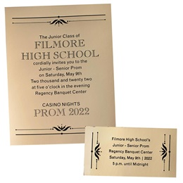 Gold Mirrored Shine Invitation and Ticket Set