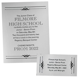 Silver Mirrored Shine Invitation and Ticket Set