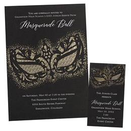 Black Mask Invitation and Ticket Set