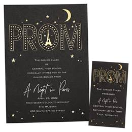 Parisian Stars Invitation and Ticket Set