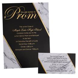 Black & Marble Luxury Invitation and Ticket Set