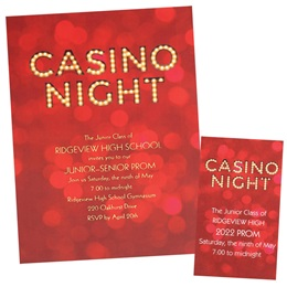 Casino Lights Luxury Invitation and Ticket Set