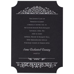 Silver Vintage Charm on Black Invite