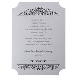 Black Vintage Charm on Silver Invite