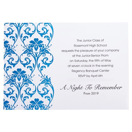 Royal Blue Foil Damask Invite