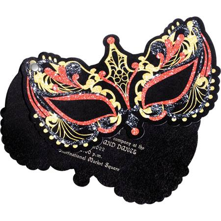 red and gold mask flip open invitation prom nite