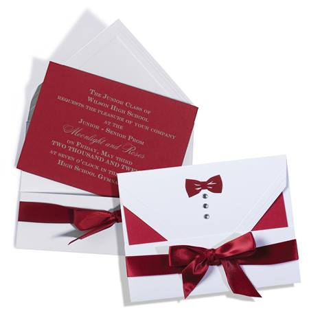 Unassembled Claret Bow Tie Invitation