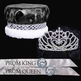 Crushed Satin Prom King and Queen Set - Marissa Tiara