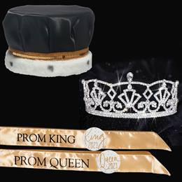 Satin Prom King and Queen Set - Katelyn Tiara