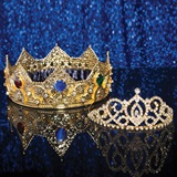 Gold Charlemagne Crown and Gold Cameo Perfect Tiara Set