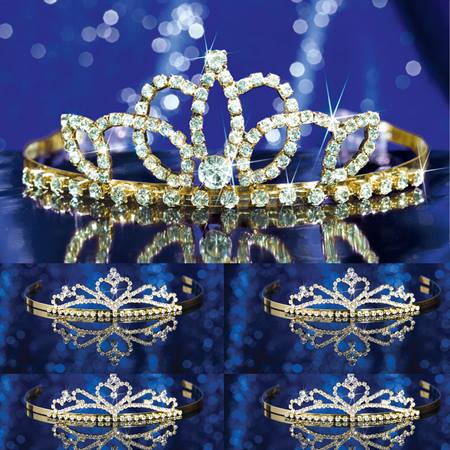 Prom Tiara Set - Gold Lady-in-Waiting Queen and Alisa Court