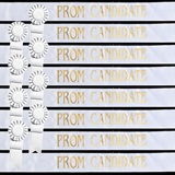 Prom Candidate Sash Set - White with Gold Foil