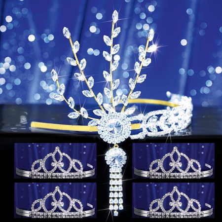 Prom Tiara Set - Gold Daisy Queen and Francine Court