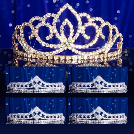 Prom Tiara Set - Gold Sasha Queen and Cleo Court