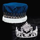 Penelope Tiara and Blue Velvet Crown Set