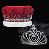 Celia Tiara and Red Velvet Crown Set