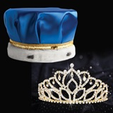 Gold Mirabella Tiara and Blue Satin Crown Set
