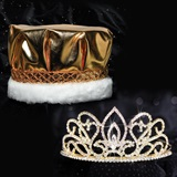 Gold Adele Tiara and Metallic Crown Set