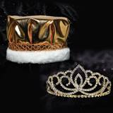 Gold Sasha Tiara and Metallic Crown Set