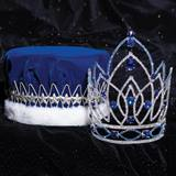 Blue Jennifer Grand Tiara and Velvet Crown Set