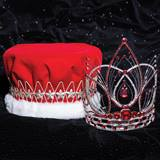 Red Arianna Grand Tiara and Velvet Crown Set