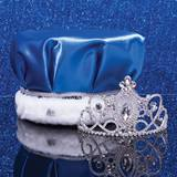 Kathleen Tiara and Blue Satin Crown Set