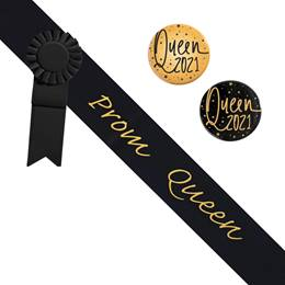 Prom Queen Black/Gold Sash - Rosette and Button