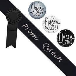Prom Queen Black/Silver Sash - Rosette and Button