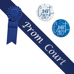 Prom Court Blue/White Sash - Rosette and Button