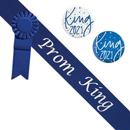 Prom King Blue/White Sash - Rosette and Button