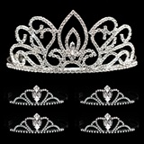 Tiara Set - Adele Queen Tiara and Black Vicky Court Tiaras