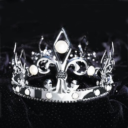 Fleur De Lis Silver Crown with Pearls