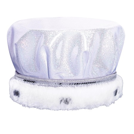 White/Silver Glitter Dusk Crown - Spotted White Fur