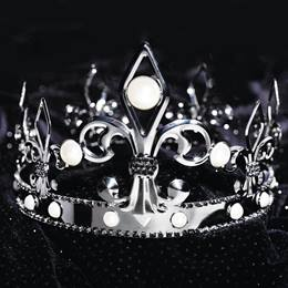 Fleur De Lis Gunmetal Crown With Pearls