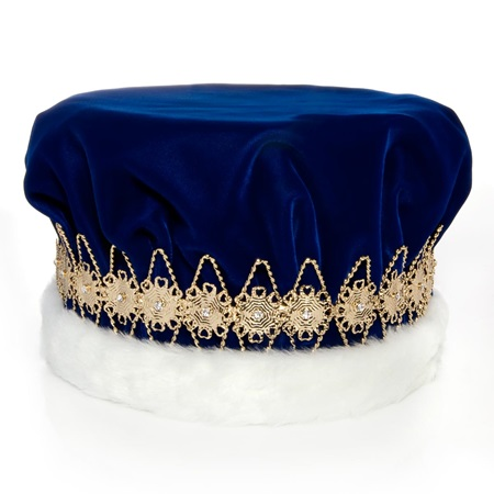 Majestic Blue King Crown with Gold Band