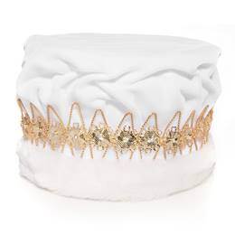 Majestic White King Crown with Gold Band