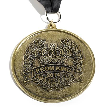 Gold Tone Antique Prom King Medallion With Embroidered Strap