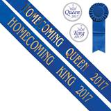 Homecoming King and Queen 2017 Sashes Set - Blue/Gold