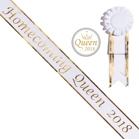 Gold Edge Homecoming Queen 2018 Sash With Button Set