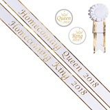 Homecoming King and Queen 2018 Sashes Set - White/Gold Script